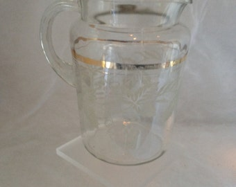 Vintage Clear Bartlett Collins Glass  Pitcher Gold Stripes Frosted Grape Pattern