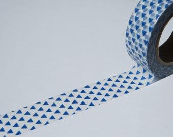 Blue Triangles Washi Tape - Blue Geometric Masking Tape