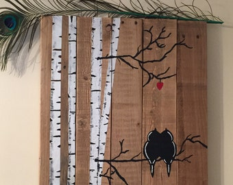 Birds on Birch Tree Branches wall art;  re-imagined pallet wood wall hanging; Country chic birch tree birds; rustic wooden wall display;