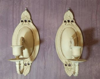 SOLD - Vintage Brass Candlestick Wall Sconce Set in Cream and Cocoa Brown - Example