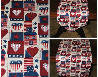 Rustic table runner, farmhouse style runner, rustic home decor, Americana decor, country style table runner, table overlay, home decor