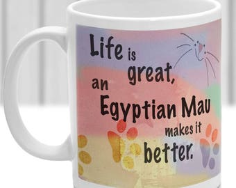 Egyptian Mau cat mug, Egyptian Mau cat gift, ideal present for cat lover