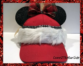 Christmas Mickey Ears Hat Christmas Minnie Ears Hat Mickey Ears Cap Minnie Ears Cap  Boy Girl Mouse Ears Baseball Cap Hat Disney Ear Hat