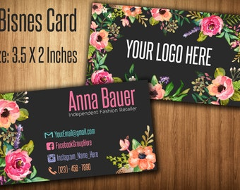 Business Cards , Fashion Consultant Card, Home Office Approved Fonts and Colors, 1-3 business days , White Flowers, size card