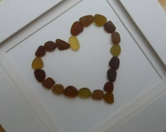 Brown and Caramel Seaham Seaglass Loveheart Picture