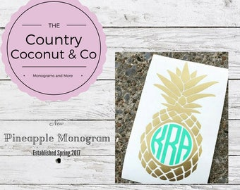 Custom Vinyl Pineapple Monogram Decal/ Pineapple Monogram/ Pineapple Decal/ Pineapple Monogram Laptop Decal/ Pineapple Monogram Car Decal