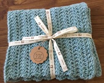 Teal Baby Blanket 100% Wool