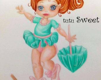 Tutu Sweet line art to colour