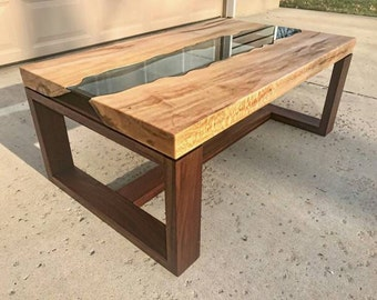 Sycamore & Walnut River Glass Coffee Table