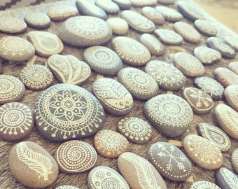 Bohemian Hand Painted Henna Sea Stones Pebbles