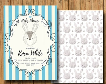 ONE Digital Customizable Blue and White Baby Shower Bunny Invitation or Thank-You Card