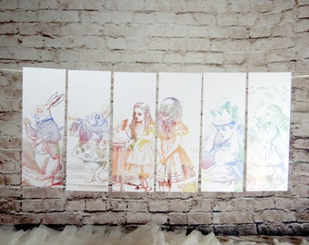 Alice in Wonderland Bookmarks set of six, Gifts for Bookworms, Literary Quotes, Alice's Adventures in Wonderland, Lewis Carroll, book quote
