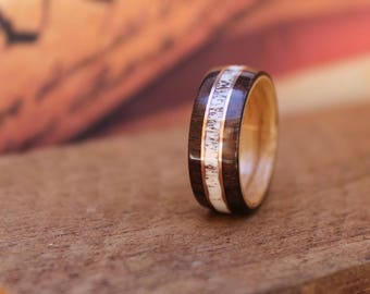 Elk Antler Wedding Ring - Men's Wooden Ring Wood Anniversary Gifts for Men Engagement Ring for Men Bentwood Ring East Indian Rosewood
