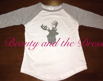 Glitter deer baseball tee, deer top, baseball tee, holiday shirt, toddler glitter top, girls glitter deer top, reindeer top, christmas shirt