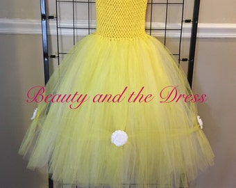 Beauty and the Beast inspired tutu dress, belle inspired dress, beauty and the beast tutu, yellow tutu dress, tutu ball gown, princess tutu