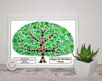 Button Family Tree picture, 'Lite' Style' Personalised family tree, anniversary gift