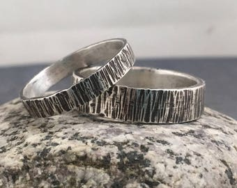 Hammered Sterling Silver Wedding Band Set - Tree bark Wedding Ring - Rustic Wedding Ring - Sterling Silver Wedding Ring