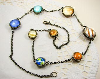 Solar system necklace, planet necklace, solar necklace, glass space jewelry, Statement necklace, universe jewelry, galaxy jewelry, cosmic
