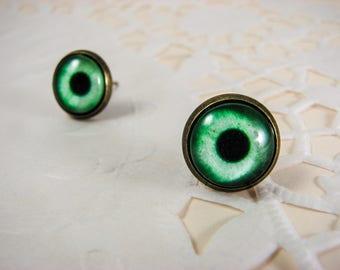 Eye tiny stud earrings, Small earring studs, Ear studs, Nickel free, Green earrings, Eye earrings, Eye Jewelry, Miniature Eye, Post earrings