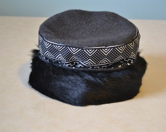 Afro-centric rabbit fur and fleece hat