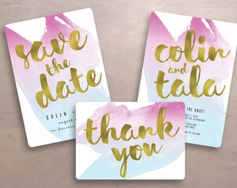 water color wedding invitation set printable wedding invitation suite