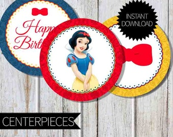 Snow White Birthday Party PRINTABLE Centerpieces- Instant Download | Princess Snow White | Disney| Cake Topper