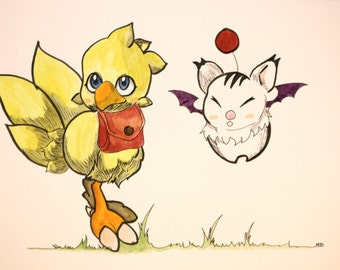 Illustration fanart of  video games Final Fantasy: baby chocobo and moogle A4 Format with  watercolor