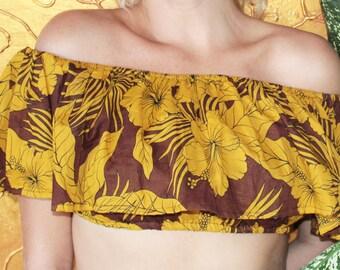 "Sunshine hippie & peasant off shoulder crop top ""Vintage Flower"""