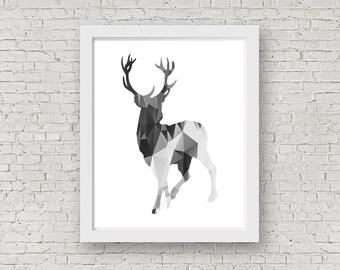 Printable file.Deer print,Polygon art,Animal polygon print,Deer-polygon,Printable files,Scandinavian wall art,Instant Download,Nordic art