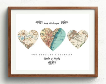 New Home Housewarming Gift, Heart Map, Personalize Map,3 Heart Map, Engagement Gift, Wedding Gift Heart Map, Heart Map Print, 16 x 12 inches