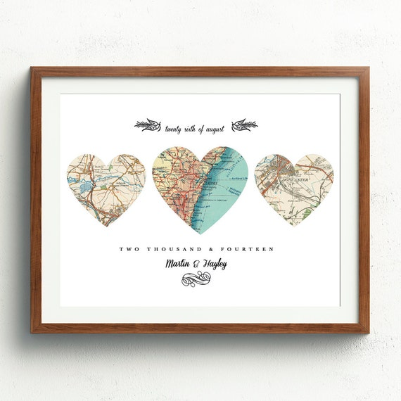 New Home Housewarming Gift Heart Map Personalize Map3 Heart