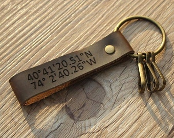 Personalized Coordinates Keychain GPS Leather Keychain Latitude Longitude Leather Keychain Mens Latitude Longitude Keychain