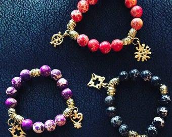 Adinkra Mixed Gemstone Charm Bracelet
