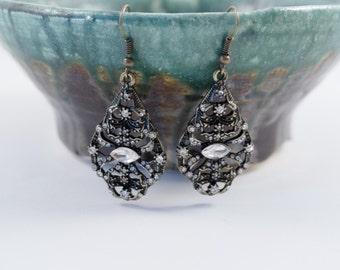 Black and Bronze Crystal Vintage Style Earrings