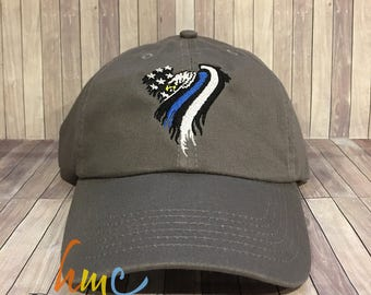 American Eagle Flag w/Thin Blue Line Hat, Thin Red Line Hat