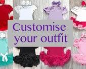 Customise your own baby girl tutu romper choose colour of tutu romper choose writing princess kids clothing colours glitter