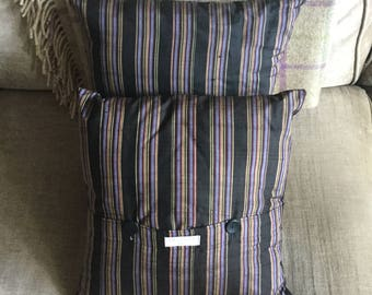 Vintage silk Japanese kimono upcycled into a pair of beautiful cushions