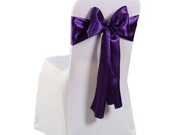 """7""""X108"""" Dark Purple Satin Sashes Chair Cover Bow Sash WIDER FULLER BOWS Wedding Party"""