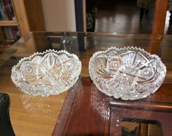 Two Vintage Crystal Clear Brilliant Cut Glass Relish Dishes with Saw Tooth Rims – Shimmering Detail