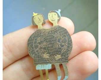 "Brass brooch ""Better together"""