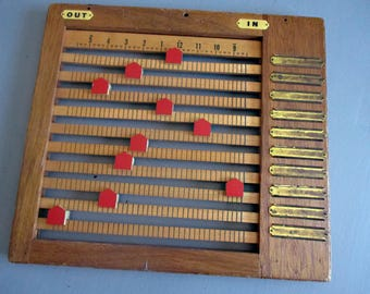 Vintage Office Time Register, INANOUT, Wooden, Supply, Décor, Heirco, In Out, Organizer, Board, Log, Family Tracker, Clock, Prop, 1940s