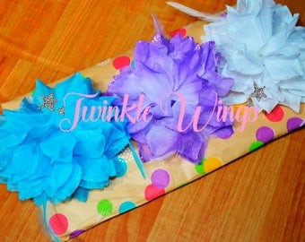 Flower with sparkling center jewel head band hair clip made to match Twinkle Wings