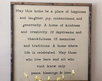 May this Home be filled LARGE SIGN