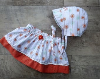 Cotton baby bonnet/baby skirt and bonnet/matching skirt and hat/brimmed bonnet/baby bonnet /baby hat and skirt/bonnet and skirt set