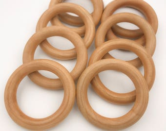 """3"""" Set of 25 ORGANIC Finished Wood Rings for Baby Teething Rings 
