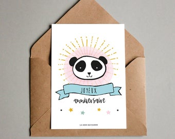 Happy birthday card - panda