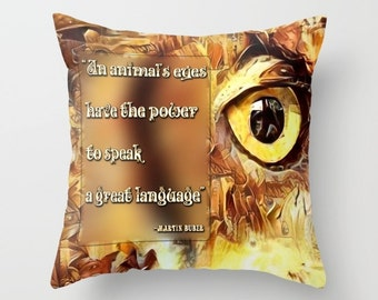 Animal Pillow, Eye Pillow, Owl Pillow, Throw Pillow Cover, Quote Pillow, Animal Wisdom, Bird Pillow, Yellow Pillow, Yellow Eyes Pillow, Tan