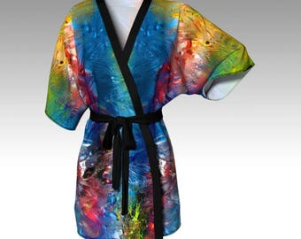 Kimono Robe, Draped Kimono, Dressing Gown, Spa Robe, Beach Coverup, Bridesmaid Robe, Lounge Wear, Swimsuit Coverup, Swim Coverup, Women Robe