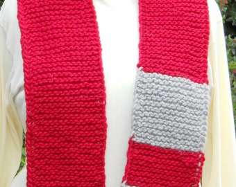 red and grey hand knit wool fibonacci math teaching scarf, unisex