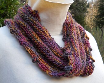 unisex hand knit purple / brown wool mobius cowl